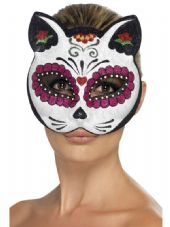 Mexican Day Of The Dead Sugar Skull Cat Mask